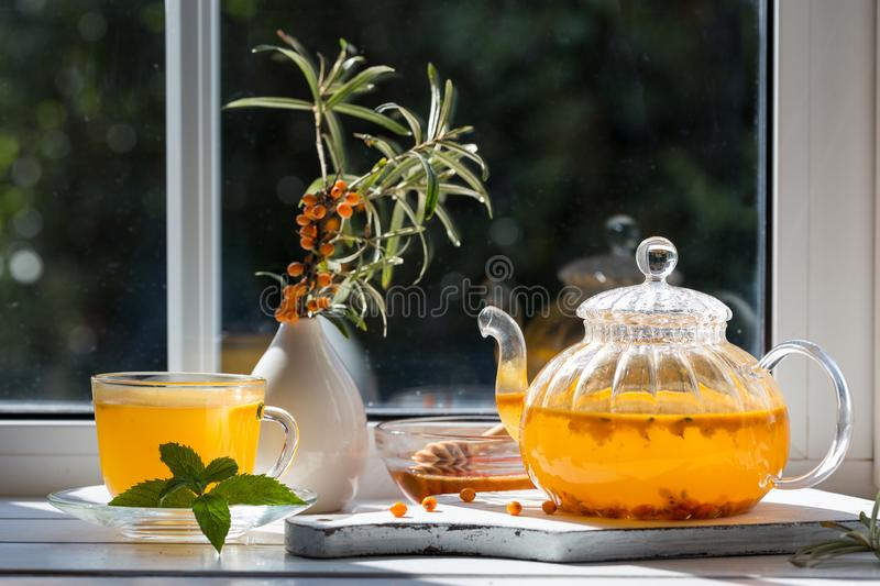 Image with sea buckthorn tea royalty free stock images