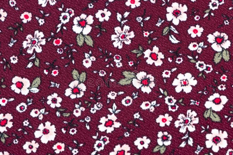 Seamless Floral Pattern in Brown Red Color Background on Cloth vector illustration