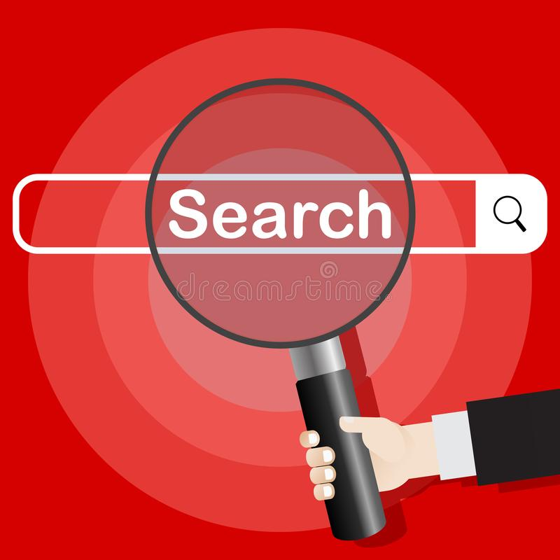 Image of the search concept. The river holds a magnifying glass, increasing the glass. Searching system. Vector illustration vector illustration