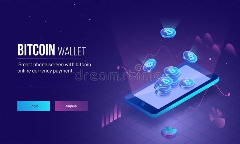 Image sensible de page ou de héros d'atterrissage pour le portefeuille de Bitcoin avec 3D illustration libre de droits