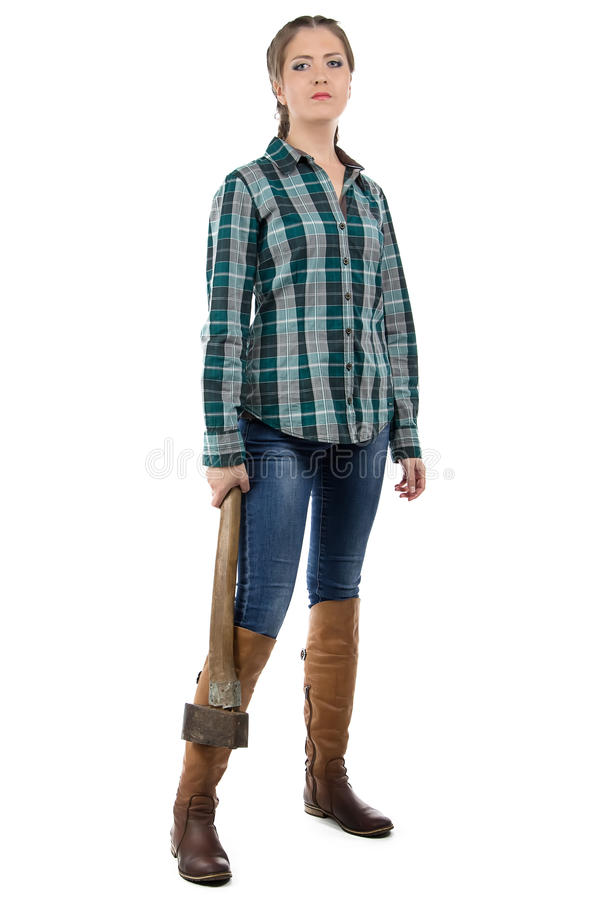 Image of serious woman with axe stock photos