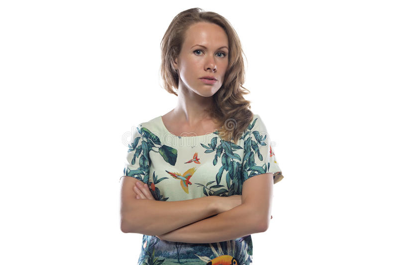Image of serious woman with light brown hair royalty free stock photography