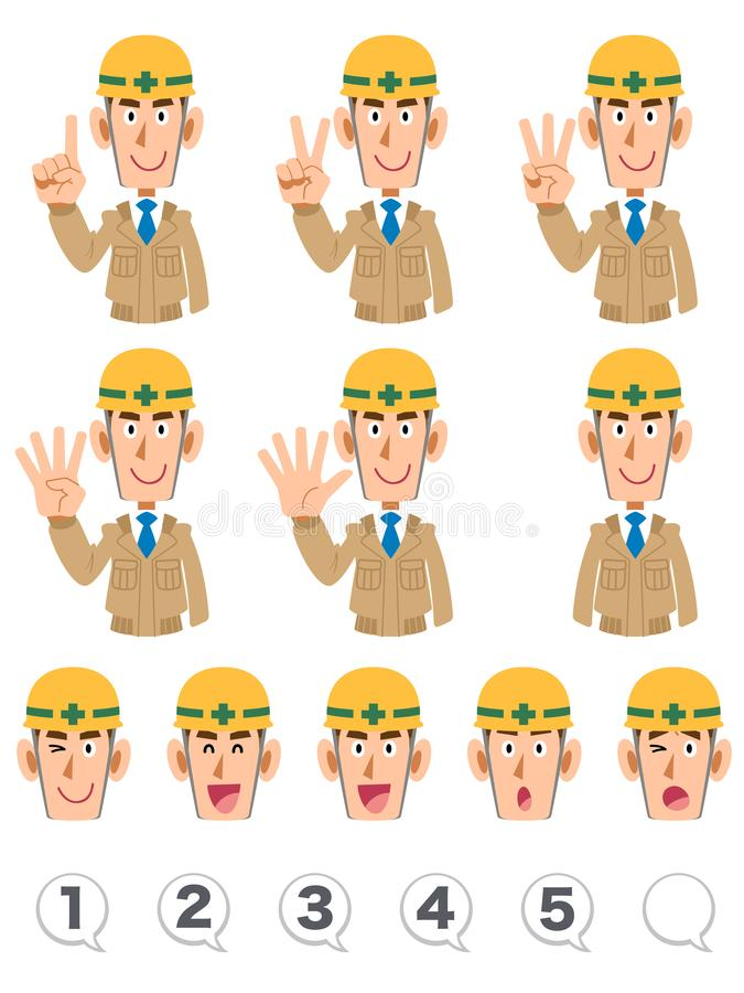 A set of upper body expression and numbers of building workers wearing beige work clothes that counts numbers with fingers. The image of A set of upper body vector illustration