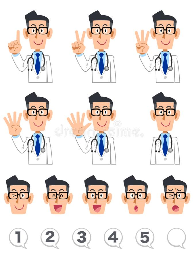 A set of upper body expression and numbers of a doctor who counts numbers with fingers. The image of A set of upper body expression and numbers of a doctor who vector illustration