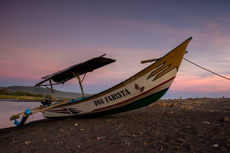 Sunset at depok Beach Look Beautifull. This image shot in Depok beach at the Yogyakarta City. Beauty sky make this image more wonderfull royalty free stock image