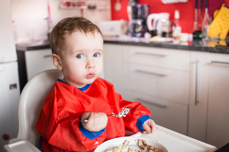 Download Little Boy eating stock photo. Image of breaktime, meal - 30291090