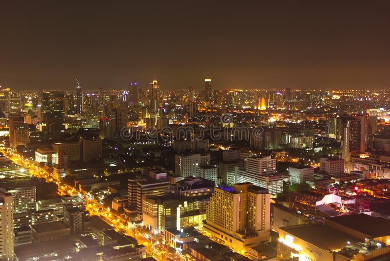 Image showing some buildings and beautiful lights of the city of Bangkok at night stock photo