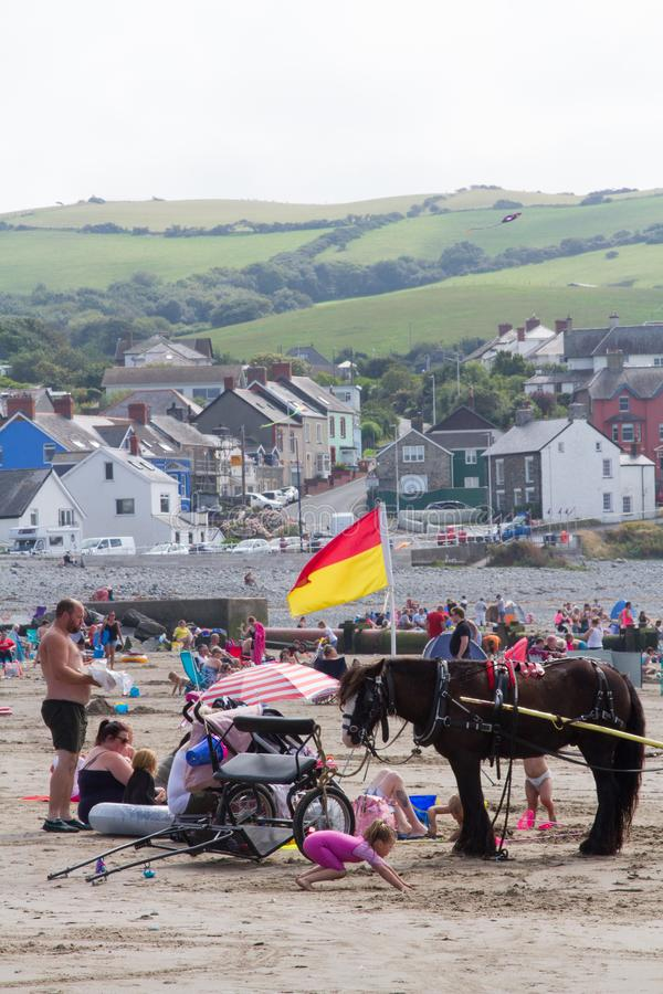 A beach scene at Borth in west Wales stock photo