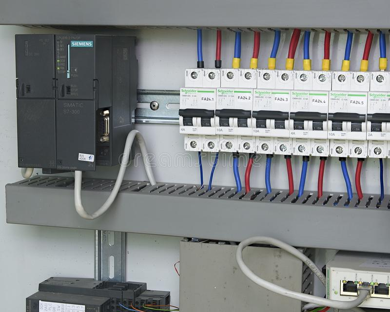 Image Shows Control Cubicle. Schneider Electric Device And Schneider ...