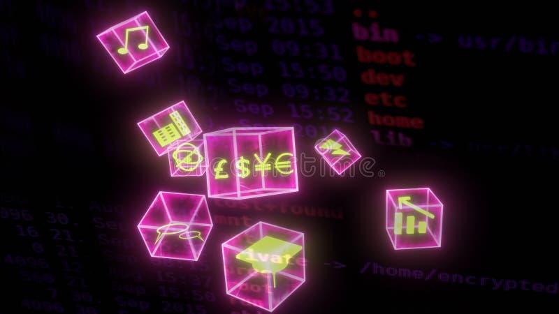 Blockchain global business economy wallpaper royalty free stock photos