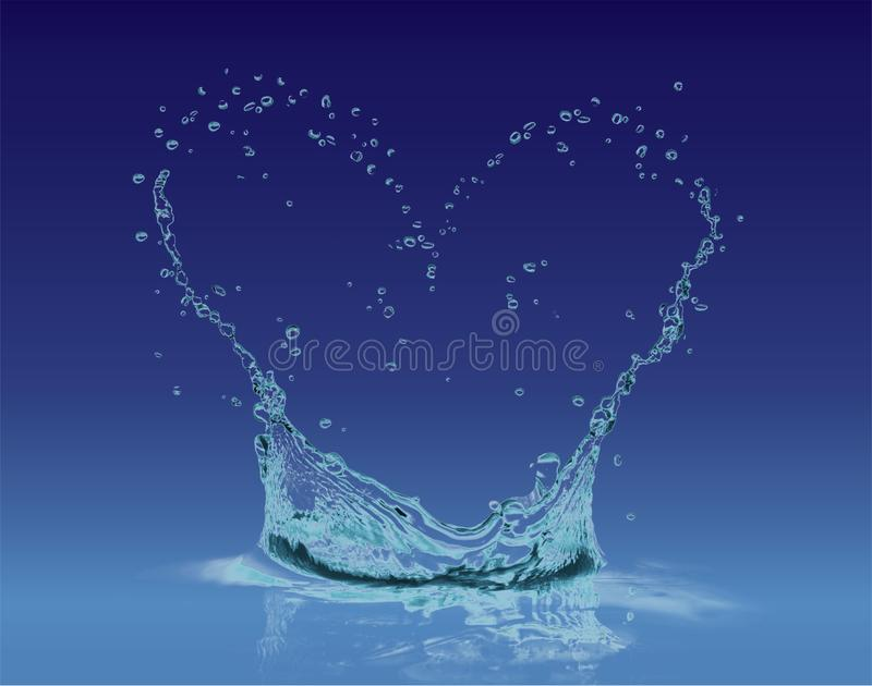 Heart water splash in a blue gradient royalty free stock photography