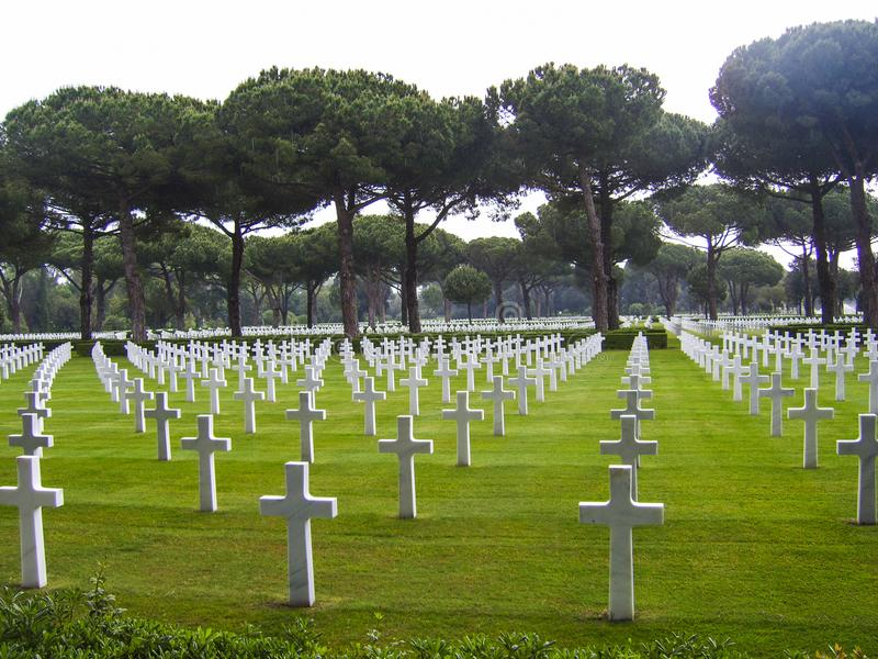 Graves at the American Military Cemetery in Nettuno, Italy royalty free stock image