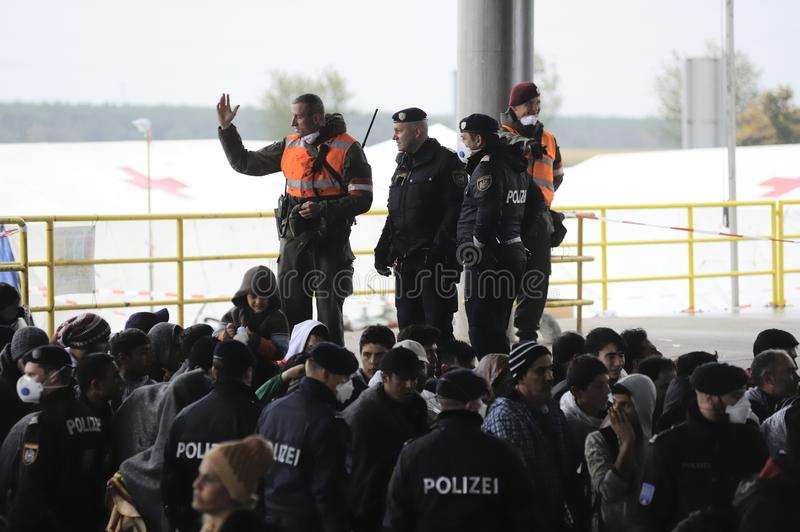 Refugees in Nickelsdorf, Austria. Image shows refugees at the Austrian border crossing Nickelsdorf in Burgenland in autumn 2015 stock photography