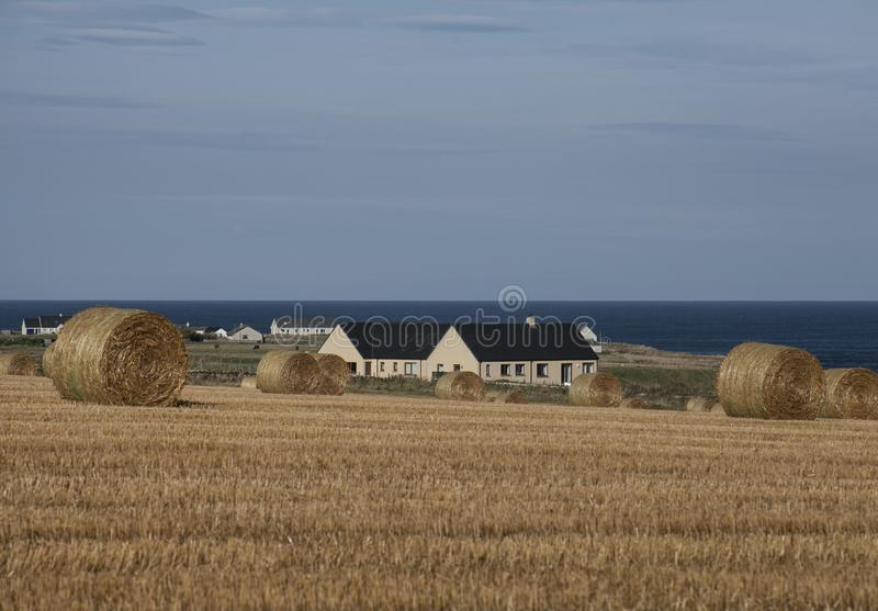 Scotland, the UK - the coastline; bales of straw and blue skies. This image shows Scotland, the UK, Europe. It was taken on a sunny day in August 2016. We can royalty free stock photo