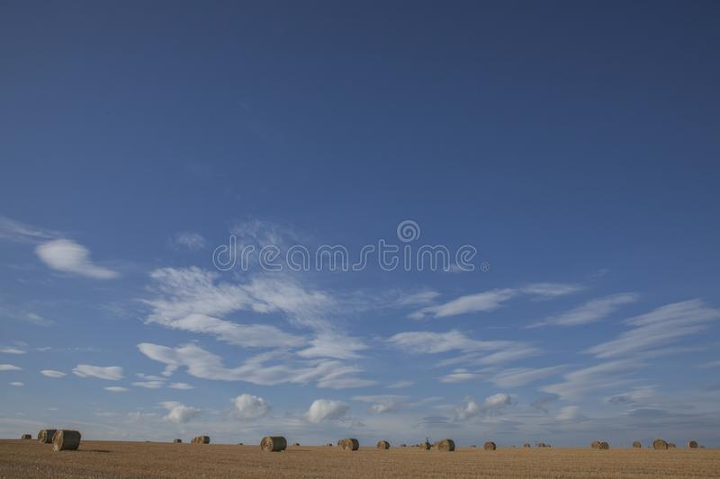 Scotland, the UK, Europe - bales of straw and blue skies on a sunny day. This image shows Scotland, the UK. It was taken on a sunny day in late summer 2016. We royalty free stock photo