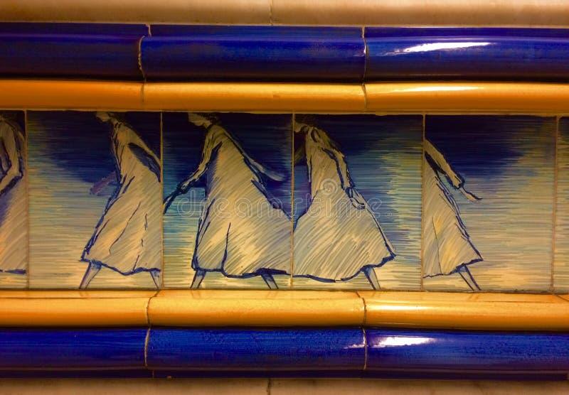 Beautiful subway station in Lisbon stock photography
