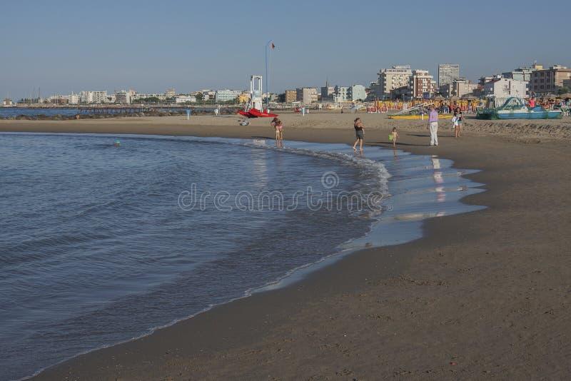 Rimini, Italy - sky, waters, beach. This image shows a view a beach in Rimini, Italy. nRimini is a city on the Adriatic coast, in Italy's Emilia-Romagna stock photos