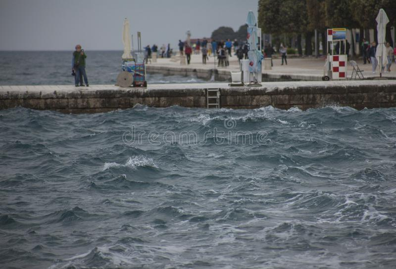 Zadar, Croatia, Europe - a dark, choppy seas. This image shows a view of a dark blue, choppy seas and some cloudy skies in Zadar, Croatia, Europe. It was taken stock image