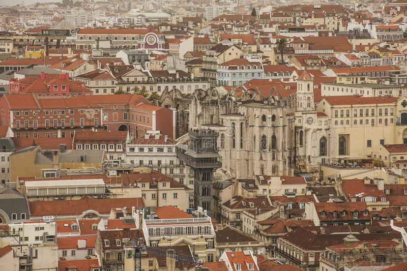 Lisbon, Portugal, Europe - the old town and the Santa Justa Lift. This image shows a view of Lisbon, Portugal, Europe. We can see the old town and the Santa royalty free stock image