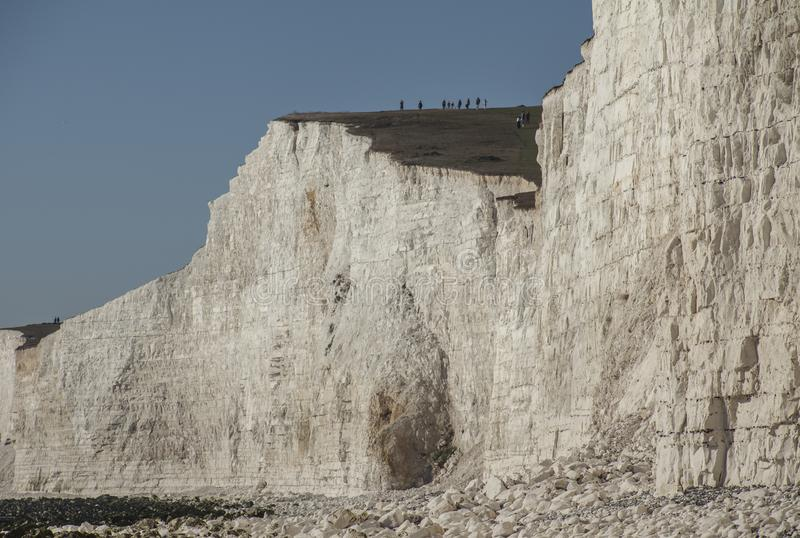 Seven Sisters, East Sussex, England, the UK; blue skies and white cliffs. This image shows a view of Seven Sisters, East Sussex, England, the UK - cliffs and stock photo
