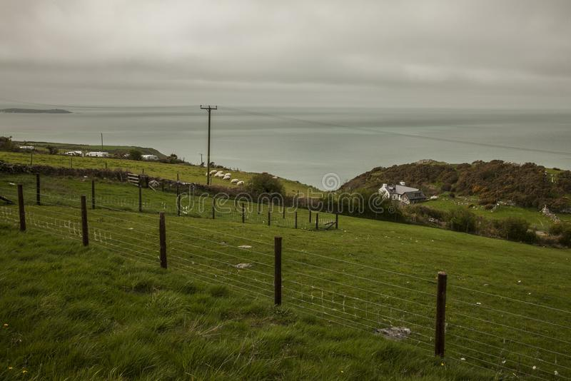 Wales, the UK - meadows and seas. This image shows a view of some green meadows by the seaside in Wales, the UK. It was taken on a cloudy day in May 2018. We stock image