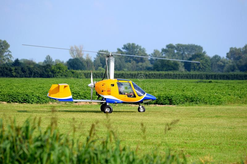 Takeoff of gyroplane royalty free stock image