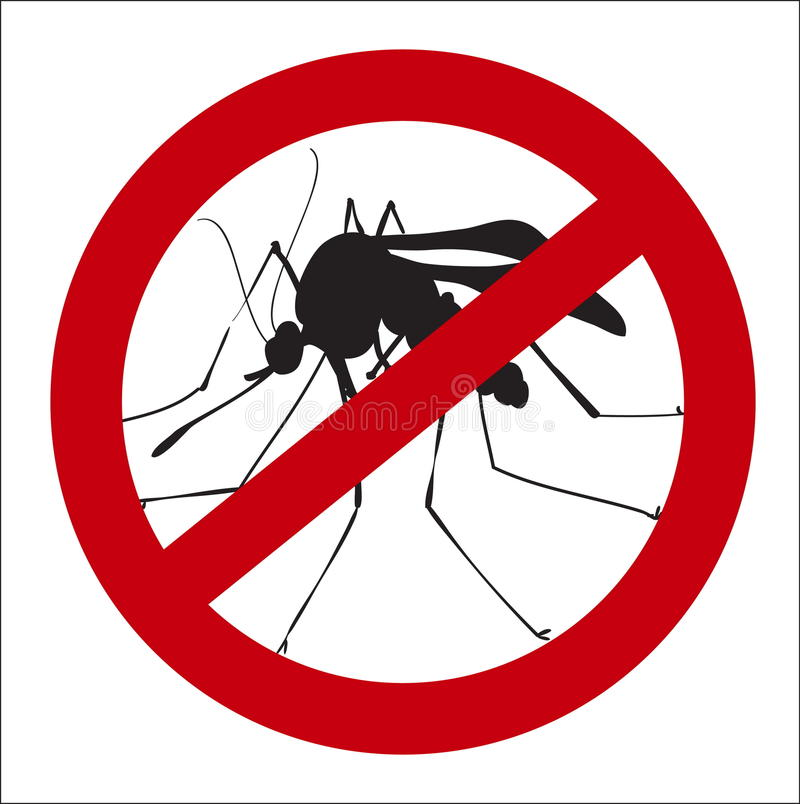 Image sign of the prohibition of mosquitoes. Vector image sign of the prohibition of mosquitoes royalty free illustration