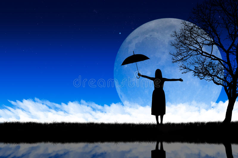 Download Silhouette Woman Nature Background Stock Illustration - Image: 29829852