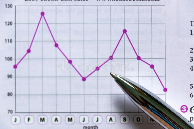 Silver Pen Showing Diagram on Financial Report royalty free stock photo