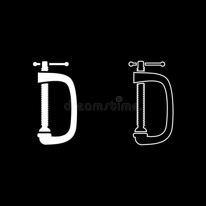 Image simple de couleur d'icône de vis-bride de crampe de style plat blanc réglé d'illustration illustration libre de droits
