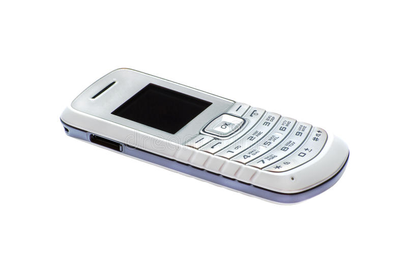 Simple cell phone isolated on white stock images