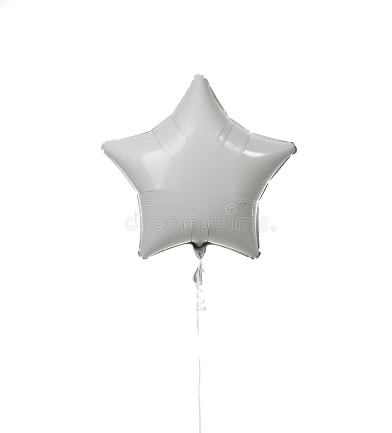 Image of single big white star latex balloon for birthday or wedding party stock photos