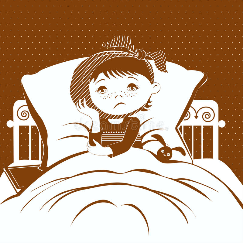 The image of a small child with a compress on a sore ear, lying in bed. vector illustration
