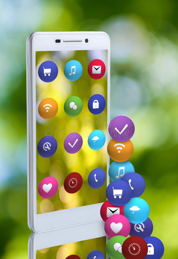 Image of smartphone and icons closeup stock illustration