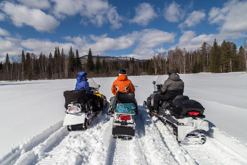 Image with snowmobiles. royalty free stock photos
