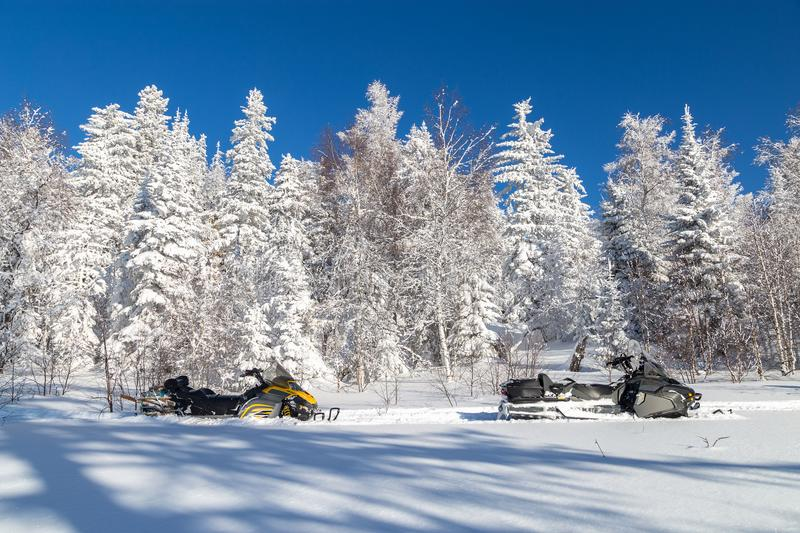 Image with snowmobiles. stock image