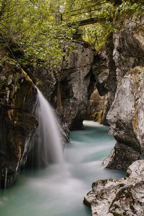 Image of soča river at greate soca george. Slovenia stock photography