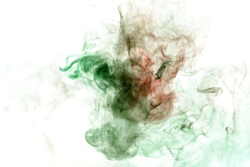 Image of the soul, a spot of wavy smoke of red and green. Print for clothes. Disease and viruses. Abstract image of the soul, a spot of wavy smoke of red and stock photography