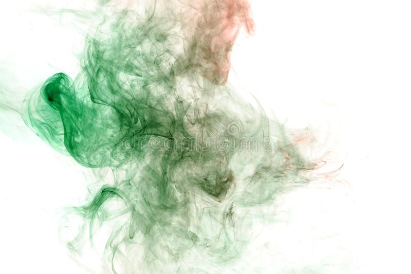 Image of the soul, a spot of wavy smoke of red and green. Print for clothes. Disease and viruses. Abstract image of the soul, a spot of wavy smoke of red and stock photo