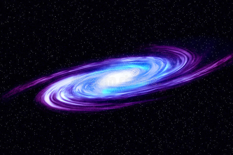 Image of spiral galaxy. Spiral galaxy in deep space with star field background. Computer generated abstract background. royalty free illustration