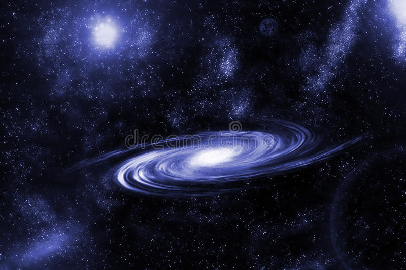 Image of spiral galaxy. Spiral galaxy in deep space with star field background. Computer generated abstract background. stock illustration