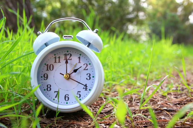 Image of spring Time Change. Summer back concept. Vintage alarm Clock outdoors. stock photo