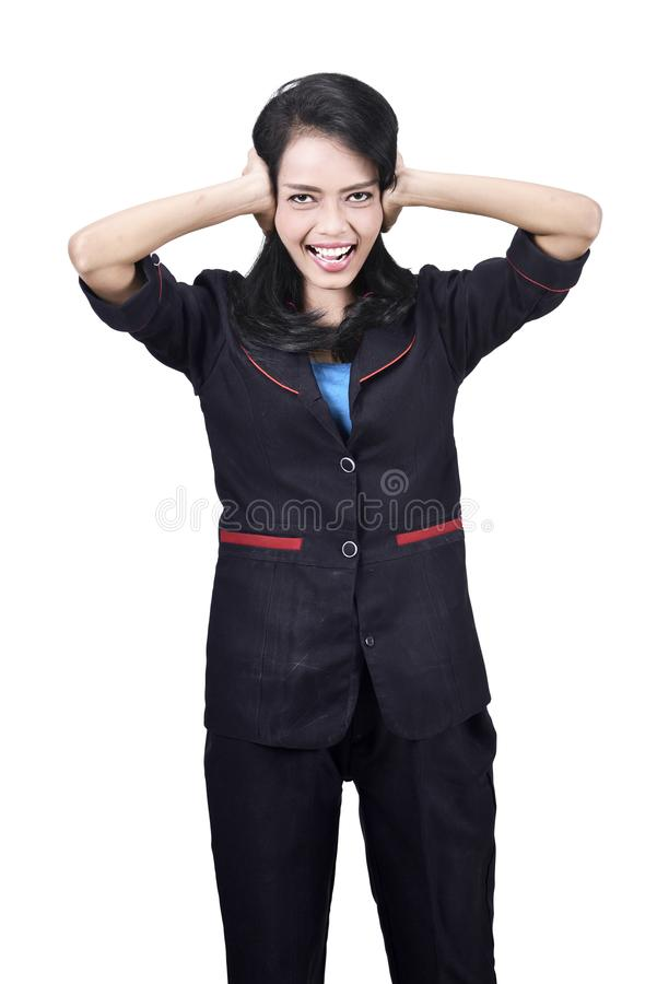 Image of stressed asian business woman royalty free stock photo
