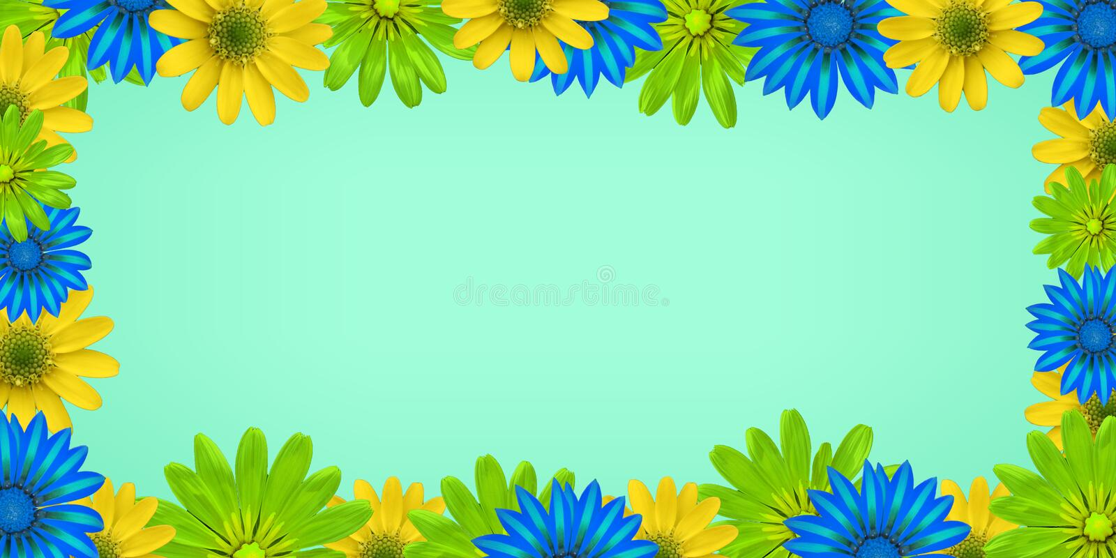 The image in the style of flowers with a light blue background for writing and using any information. stock photography