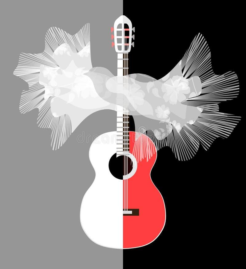 Image stylisée de guitare blanc rouge et de châle espagnol avec des glands dans la forme de l'oiseau de vol dans le vecteur ?l?me illustration libre de droits
