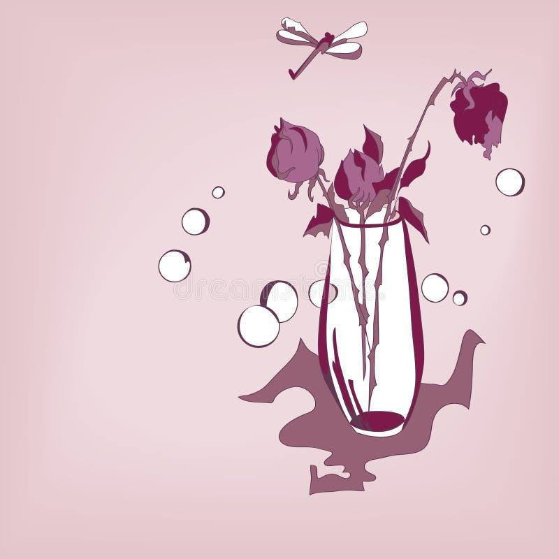 Image stylisée du bouquet des roses et de la libellule illustration libre de droits