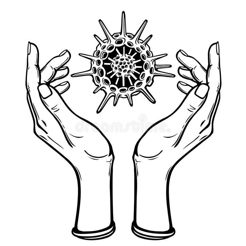 Image the stylized hands hold a skeleton of a radiolaria. vector illustration