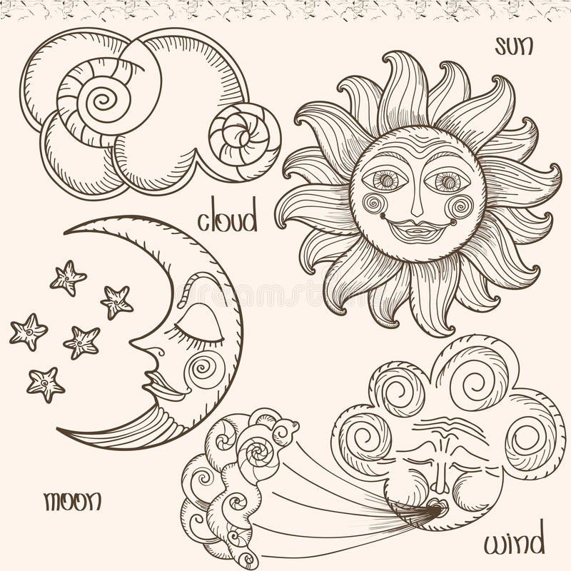 Image of the sun, moon, wind and clouds. vector illustration