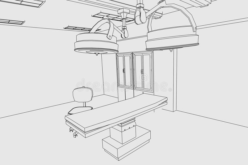 Image of surgery room. Cartoon image of surgery room stock illustration