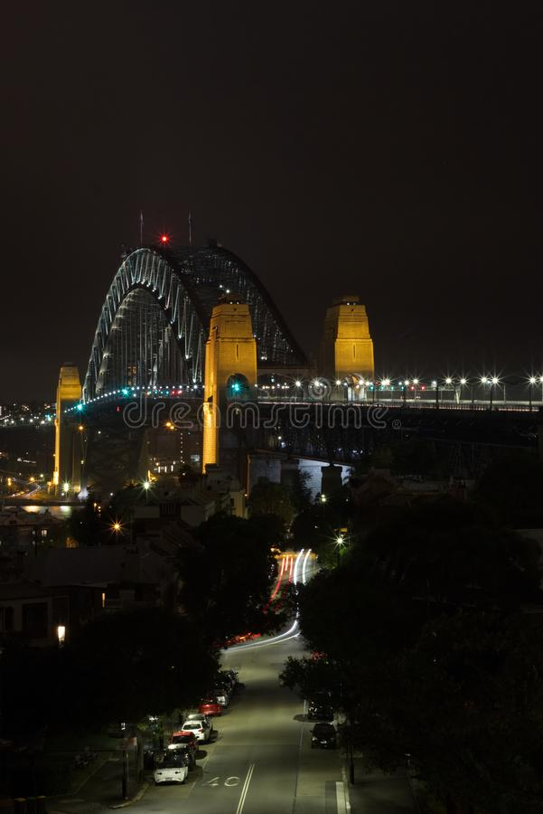 Streets around the Harbour Bridge at Night royalty free stock images